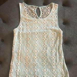 Cream and teal lace tank